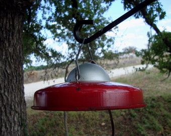 SALE SALE Vintage red metal hanging light fixture industrial mid century