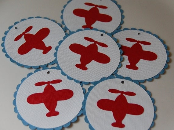Perfect Airplane Favor Tags, Airplane Birthday, Airplane Baby Shower, Airplane  Decorations, 12 Pcs Blue With Red Airplanes