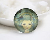 10mm 12mm 14mm 16mm 18mm 20mm 25mm 30mm Handmade Round Photo glass Cabochons Girl Image Glass Cover  (P2645)