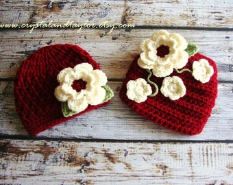 Girl Hat and Diaper Cover, Red Crochet Hat, Newborn Hat, Baby Hat, Baby Girl Hat and Diaper Cover