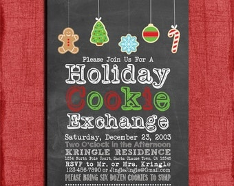 Printable Chalk style Holiday Cookie Exchange Party Invitation-DIY