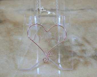 Pink Heartbeat Wire Necklace