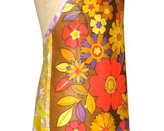 Metro Retro 'Funky Flowers' Vintage Tea Towel Ladies Womens  Kitchen HANDMADE Apron . Mother's Day , Birthday, Gift Idea . Upcycled . OOAK