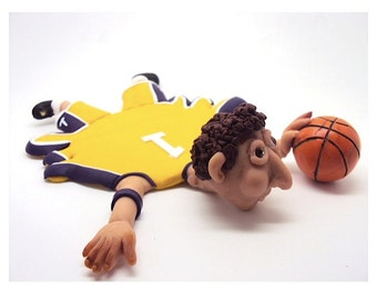 Funny Splattered basketball Coaster in Polymer Clay