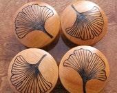 "SALE 4 Ginkgo Leaf Cabinet Knobs 2"" Birch End Grain Pyrography Woodburning Set 2"