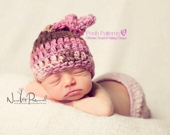 Crochet PATTERN - Top Knot Baby Hat Pattern - Crochet Hat Pattern - Crochet Patterns Baby - Includes 4 Sizes - Photo Prop - PDF 151