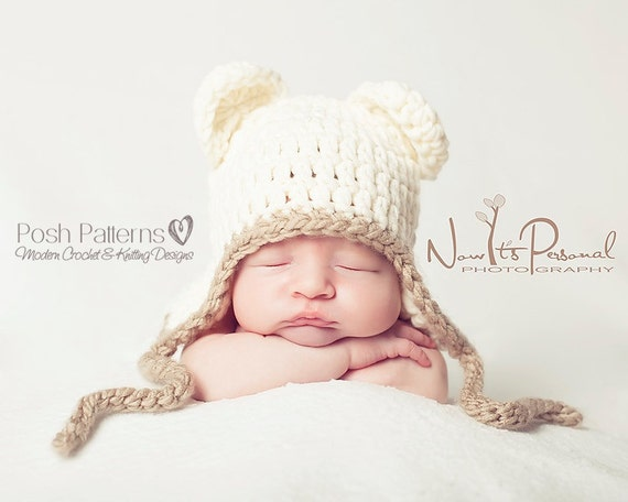 Crochet PATTERN - Crochet Pattern Baby - Crochet Bear Hat Pattern - Baby Bear Earflap Hat - Crochet Hat Pattern - Includes 5 Sizes - PDF 186