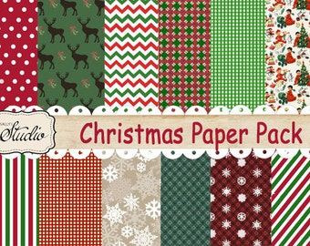 Christmas Digital Paper Pack Set of 12 Custom Designed Background Papers, Digital Christmas Paper, Scrapbook Paper Pack, Red and green paper