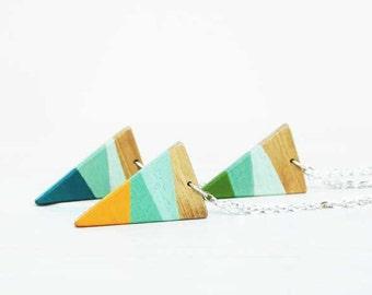 Triangle  Pendant Necklace Geometric Necklace Color Block Minimalist Necklace