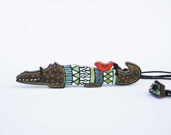 Funny Crocodile Necklace Animal Jewelry Woodland Green Weird Jewelry Geekery