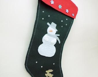 Snowman & Reindeer Christmas Stocking, Felt, 16 inches long