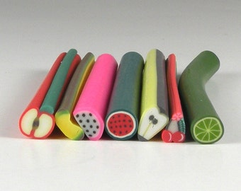 Fruits Basket 10 Pack of Fimo Canes for Nail Art or Scrapbooking (FB2)
