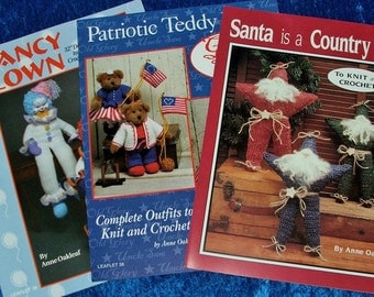 Lot 3 Fantastic KNIT & CROCHET Pattern Books JAO Enterprises Clancy Clown,Patriotic Teddy Bears,Santa Stars,Holiday Toys,Christmas,4th July