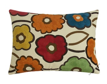 """Spring Pia Flower (orange/yellow/blue/red/green) Decorative Throw Pillow Cover / Pillow Case / Cushion Cover / Cotton / 12x16"""""""