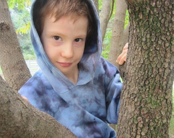 Fleece Hoodie, Blue and Charcoal, Boys and Girl's Size 8