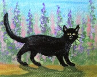 Cat In Garden 3in x 3in mini canvas painting