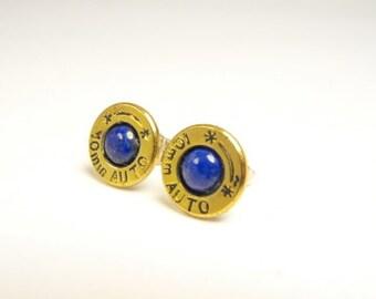 Bullet earrings Lapis Lazuli and brass post earrings
