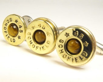 Bullet cufflinks tiger's eye and brass cufflinks and pin 45 Colt
