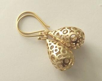 Modern Bubble Pear Drop, Gold Dangle Earrings