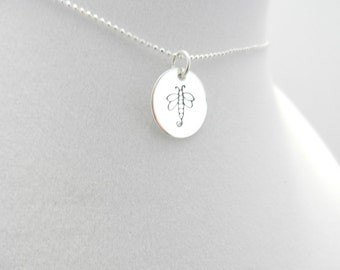 Hand Stamped Dragonfly on  Sterling silver charm with Sterling silver Bead Chain
