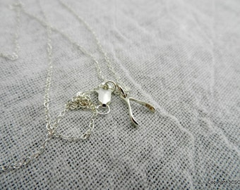 Petite Wishbone Sterling silver necklace