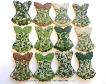 Camoflage Lingerie Corset Cookie Favors for Military Personnel, Bachelorette Parties etc. (#2333)