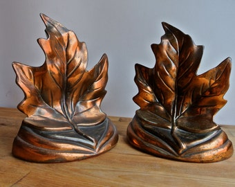 Brass Colored Maple Leaf Bookends.