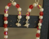 Beaded Candycane Holiday Earrings