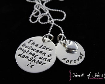 Hand Stamped Jewelry- Personalized Necklace- Sterling Silver Mother's Necklace- Mother Daughter Necklace