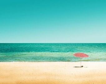 beach photography umbrella nautical decor fine art 8x10 8x12 coastal prints ocean photography stripes retro teal vintage wall art red white