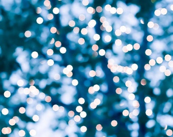 abstract photography bokeh 8x10 30x45 fine art photography winter fairy lights teal art large scale print sparkle abstract light  blue decor