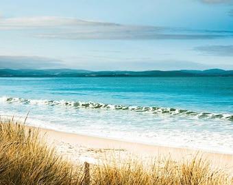 beach photography nautical decor ocean photography 8x10 24x36 fine art photography summer aqua gold beach grasses waves coastal prints blue