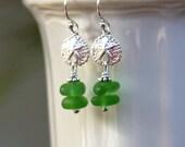 Sea glass earrings, sea glass jewelry, sterling silver, sand dollar earrings, sand dollar jewelry, sand dollar, green, beach jewelry