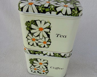 Vintage Daisy Sugar and Tea Kitchen Canisters