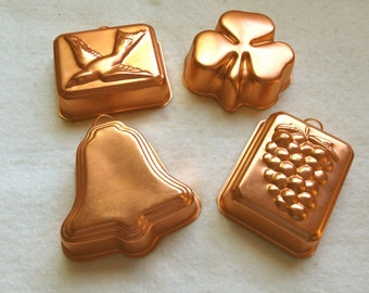 Set of 4 Vintage Anodized Aluminum Molds
