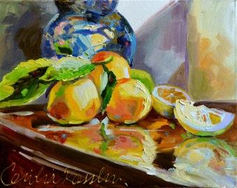 LEMON REFLECTIONS  Art Print of Original Oil Painting, Lemons and Delft Copy