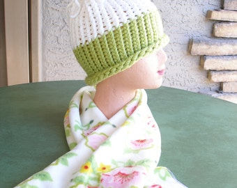 Handmade Knitted Hat w/ Handmade Floral Fleece Scarf, Matching Set, Super Soft Hat!, Greens, Pinks, Yellow