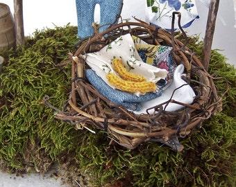 Fairy Garden Laundry Basket Grapevine Miniature Accessory Gnome Woodland Fantasy