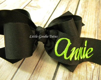 MONOGRAMMED HAIR BOW Boutique Style Custom Made monogrammed grosgrain hairbow