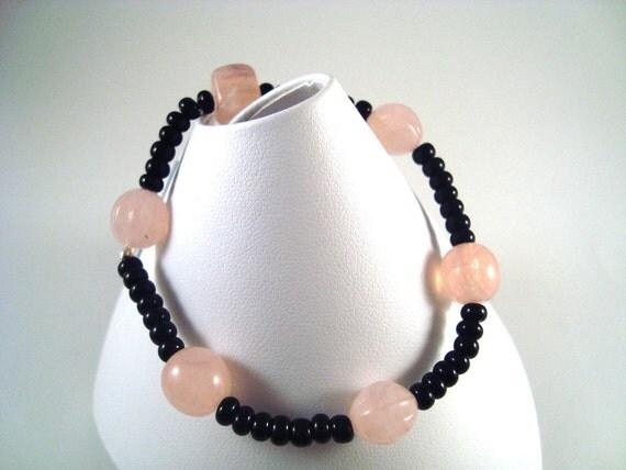 Beaded Bracelet Pink, Black and cute Bead Bracelet .