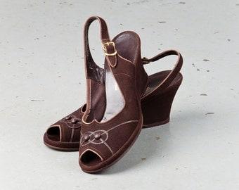 Vintage 1940s Brown Mel Preston Wedges