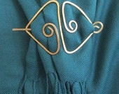 Double Triangle Shaped Hammered Scarf, Hair, Shawl or Sweater Pin