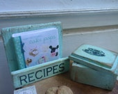 Set of holder book and box with cookies. Handmade with wood. 1/12th scale. (Light green)