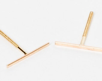 Tiny Long 14 Karat Gold Line Earrings- 14 Karat solid Gold Line Studs- Gold Bar Earrings- tiny gold bar studs