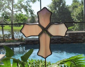 Grape and White Swirled Iridescent Glass Cross - Victorian Inspired -  Garden/ Marker/Potted Plant Stake/Memorial Marker