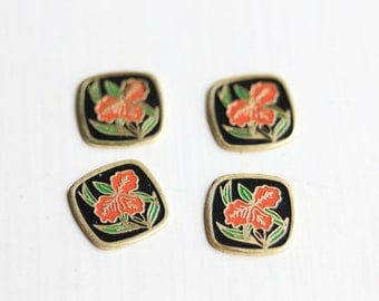 Red Flower Cabochons, Flower Cabochons, Metal Cabochons (6x)