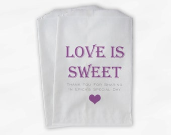 Love Is Sweet Candy Buffet Treat Bags - Personalized Bridal Shower Favor Bags in Lilac Purple and Gray - Set of 25 Custom Paper Bags (0167)