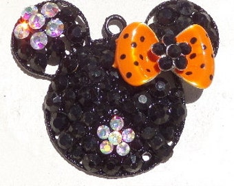 48mm Minnie Mouse Inspired Rhinestone Pendant, Orange and Black, P26