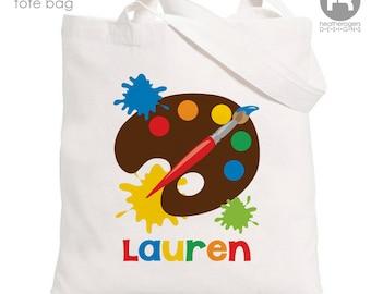 Artist Personalized Tote Bag - Artist Monogram Tote Bag - Painting Party Bag - Artist Bag  - Summer Art Camp Bag