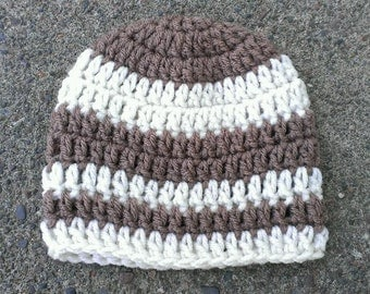 FREE SHIPPING - Hand Crochet Cream/Mocha Striped Beanie Hat-Available In Sizes: Newborn-Adult - Photo Prop